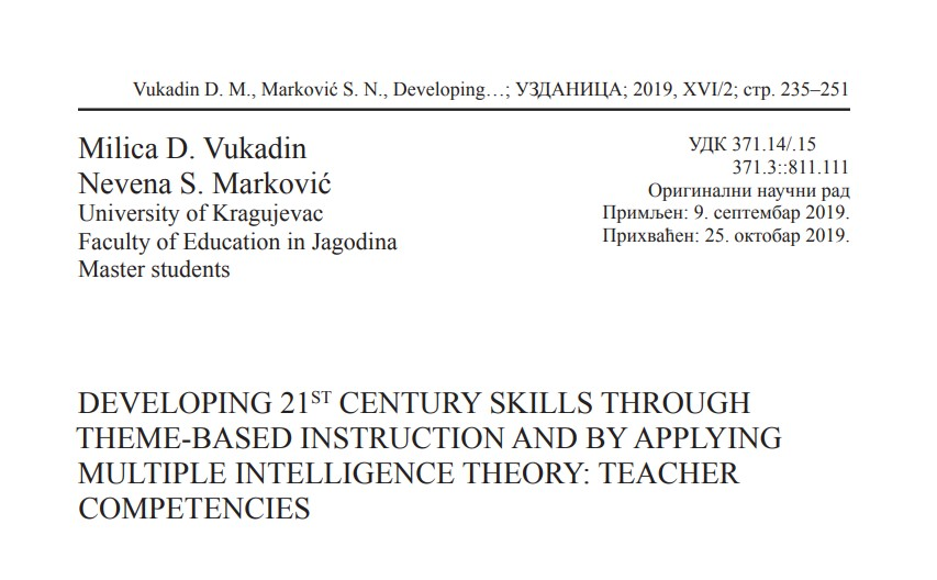Developing 21st Century Skills Through Theme-Based Instruction and by Applying Multiple Intelligence Theory