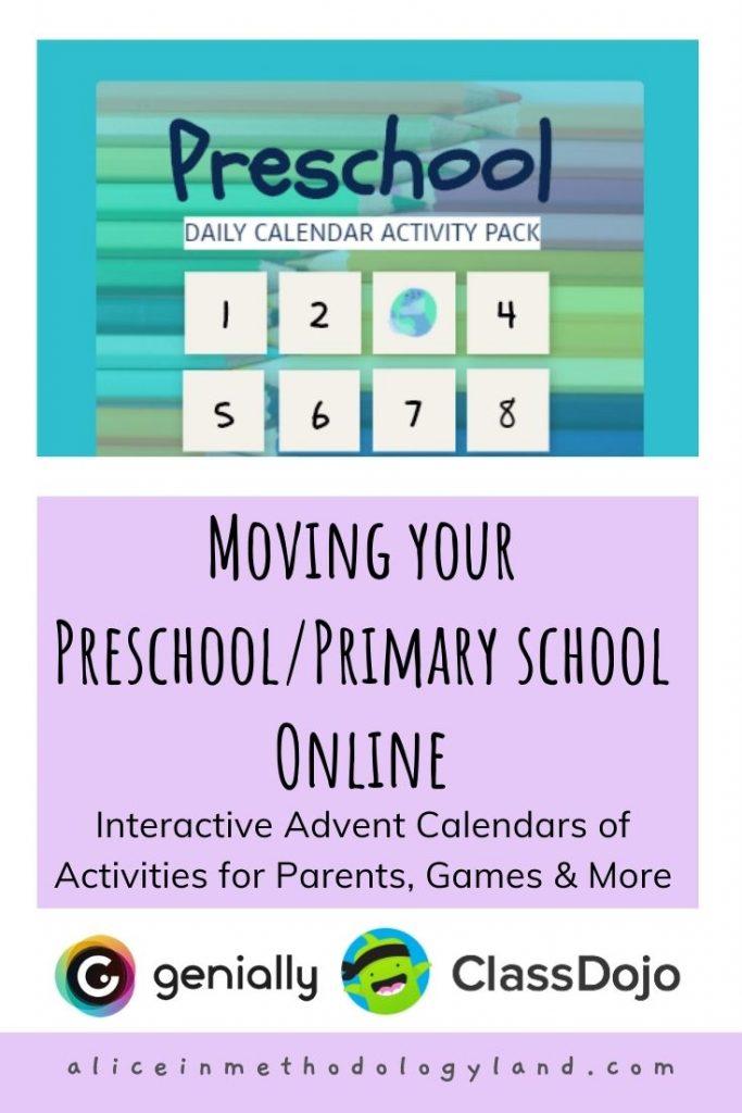 Moving Your Preschool Primary School Online Interactive Advent Calendars Of Activities For Parents Class Dojo Games More
