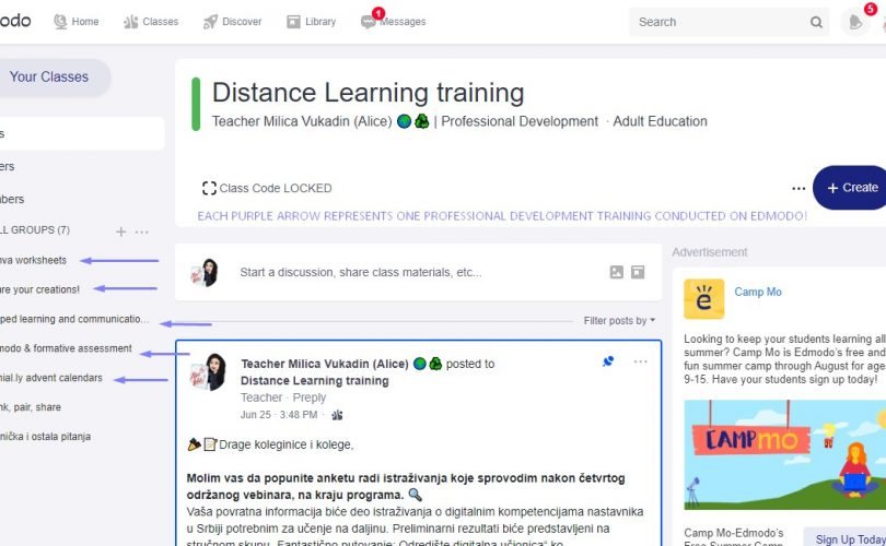 Edmodo distance learning training for over 200 educators