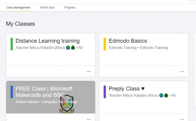 Some of my classrooms on Edmodo